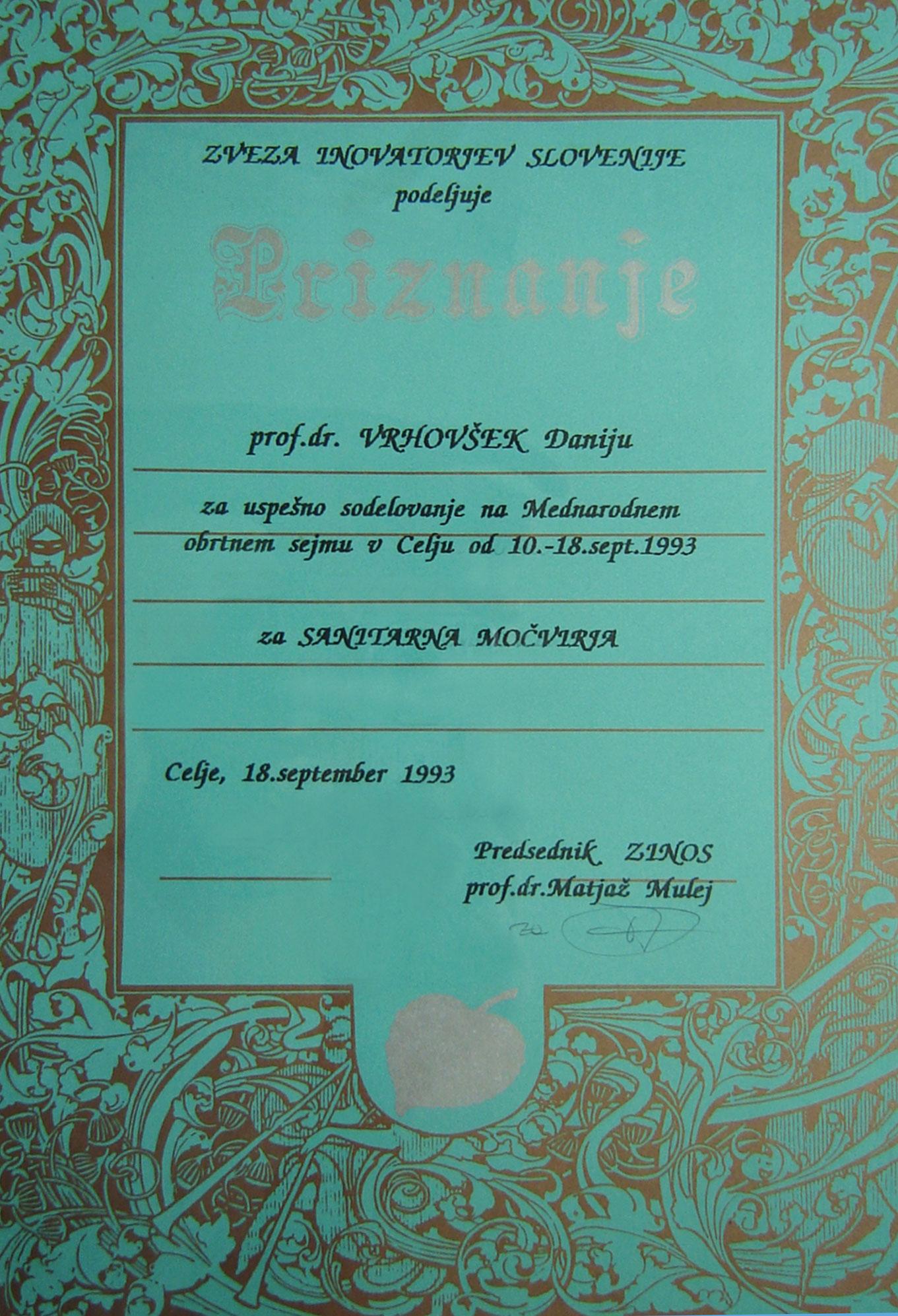 Priznane Zveza inovatorjev Slovenije 1993