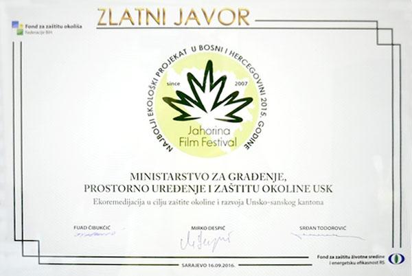 Priznanje »Zlati javor« za najboljši ekološki projekt v Bosni in Hercegovini